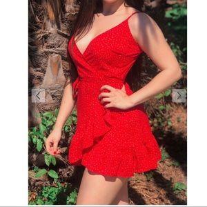 NWT Zaful ditsy dot cami flounce red wrap dress 4